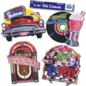 50's Rock And Roll Cutouts-4 Pack