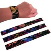 Slap Bracelets,Satin Printed-12 Pack