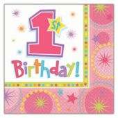 1St Birthday Girl Luncheon Napkins - 16 Pack