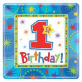 "1St Birthday Boy 7"" Square Plates - 8 Pack"