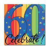 Celebrate 60 Beverage Napkins - 16 Pack