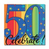 Celebrate 50 Beverage Napkins - 16 Pack