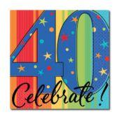 Celebrate 40 Beverage Napkins - 16 Pack