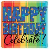 "Celebrate Birthdays 10"" Square Plates - 8 Pack"