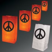 Peace Sign Luminary Bags-50 Pack