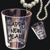 """New Year's Bead Shot Glass Necklace-33"""""""