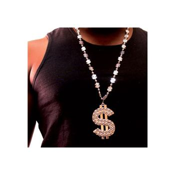 Silver Dollar Sign Bead Necklaces - 33 Inch, 12 Pack