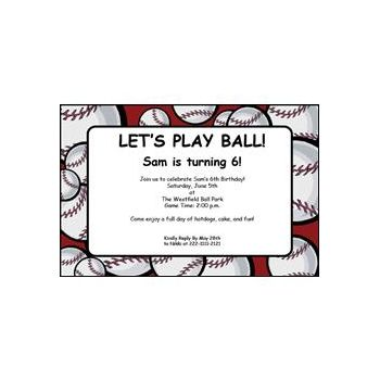 Baseball Party Personalized Invitations