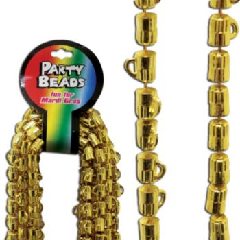 Gold Beer Mug Bead Necklaces - 33 Inch, 12 Pack