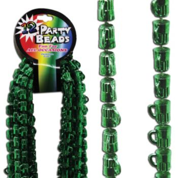 Green Beer Mug Bead Necklaces - 33 Inch, 12 Pack