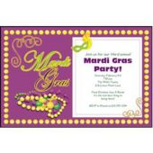 Mardi Gras Beads Personalized Invitations