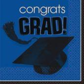 Blue Graduation Lunch Napkins - 36 Per Unit