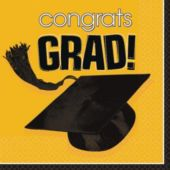 Yellow Graduation Lunch Napkins - 36 Pack