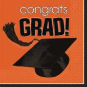 Orange Graduation Lunch Napkins - 36 Pack