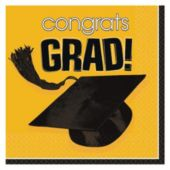 Yellow Graduation Beverage Napkins - 36 Pack