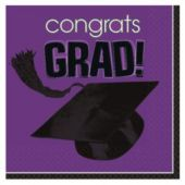 Purple Graduation Beverage Napkins - 36 Per Unit