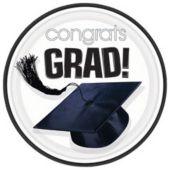 "White Graduation 9"" Plates - 18 Pack"