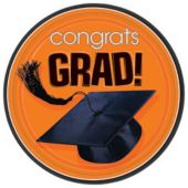 "Orange Graduation 9"" Plates - 18 Pack"