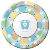 "Blue Tiny Toes 9"" Plates - 8 Pack"