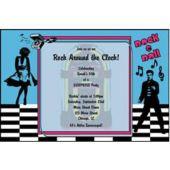 Rock N Roll Retro Personalized Invitations