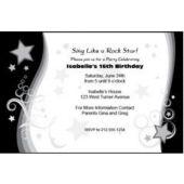 Black Star Swirl Personalized Invitations