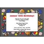 All Sports Locker Personalized Invitations