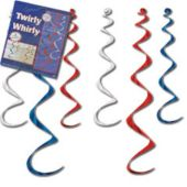 Patriotic Twirly Whirly Decorations- 6 Per Unit