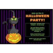 Halloween Black Cat Personalized Invitations