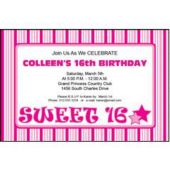 Pink Sweet 16 Personalized Invitations