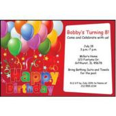 Balloons On Red Personalized Invitations