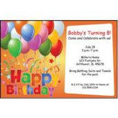 Balloons On Orange Personalized Invitations