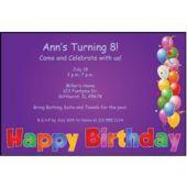 Balloon Birthday Purple Personalized Invitations