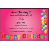 Balloon Birthday Pink Personalized Invitations