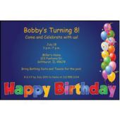 Balloon Birthday Blue Personalized Invitations