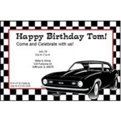 Black Hot Rod Personalized Invitations