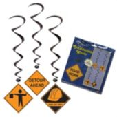 Construction Crew Whirl Decorations-5 Pack