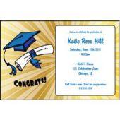 Golden Graduation  Personalized Invitations