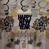 Gold & Silver New Year Swirl Decorations-30 Pack