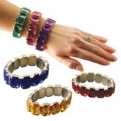 Jewel Stone Elastic Bracelets - 12 Pack