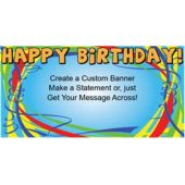 Happy Birthday Ribbons Custom Banner