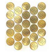 """Gold Heart Metallic 1"""" Seals - 25 Pack"""
