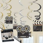 Hollywood Lights Swirl Decorations-12 Pack