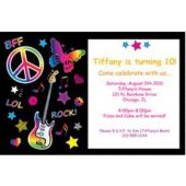 Neon Doodle Personalized Invitations