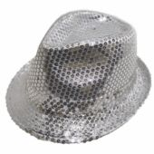 Silver LED and Light-Up Sequin Fedora