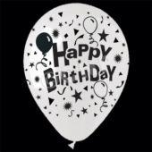 "White Happy Birthday 14"" Balloons - 25 Per Unit"