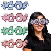 40 Glitter Foil Glasses - 25 Pack