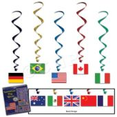International Flag Whirl Decorations-5 Pack