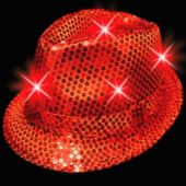 Red LED and Light-Up Sequin Fedora