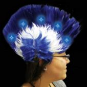 Blue And White LED Mohawk Wig