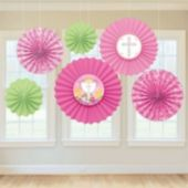 Pink First Communion Fan Decorations-6 Pack